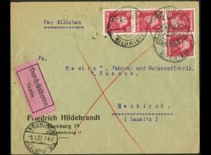 Dt. Reich, Hamburger Straßenbahnpost 1927, unterfrank. Mehrfachfr. (8790)