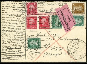 Dt. Reich, Hamburger Straßenbahnpost 1927, portoger. Eil-Karte (8791)