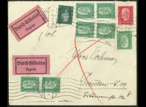 Dt. Reich, Hamburger Straßenbahnpost 1930, auf Eil-Brief (8794)