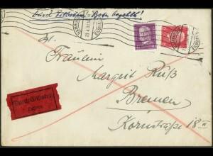 Dt. Reich, Hamburger Straßenbahnpost 1930, portoger. Eil-Brief (8795)