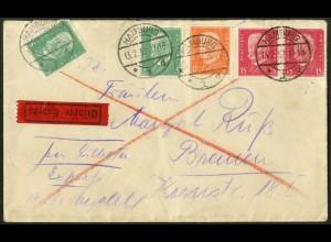 Dt. Reich, Hamburger Straßenbahnpost 1932, portoger. Eil-Brief (8804)
