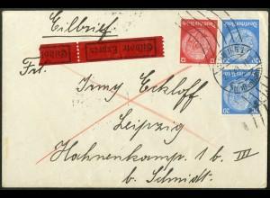 Dt. Reich, Hamburger Straßenbahnpost 1939, portoger. Eil-Brief (8817)