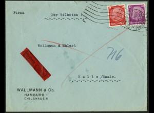 Dt. Reich, Hamburger Straßenbahnpost 1939, portoger. Eil-Brief (8818)