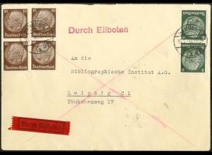 Dt. Reich, Hamburger Straßenbahnpost 1940, portoger. Eil-Brief (8820)