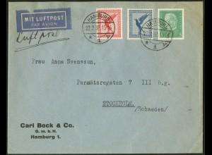 Dt. Reich, Straßenbahnpost, unterfrank. Auslands-Luftpost-Brief (8837)