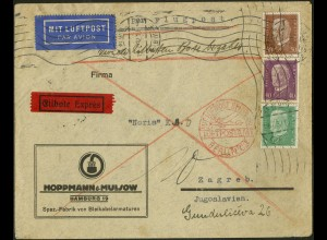 Dt. Reich, Straßenbahnpost, portoger. Auslands-Luftpost-Eil-Brief (8838)