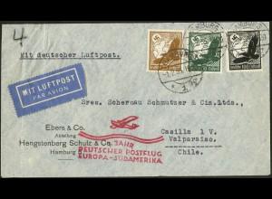 Dt. Reich, Straßenbahnpost 1935, portoger. Auslands-Luftpost-Brief (8842)