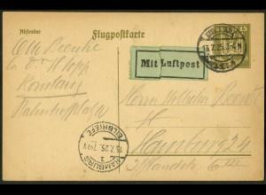 Dt. Reich, Straßenbahnpost 1925, portoger. Luftpost-GA-Karte (8846)