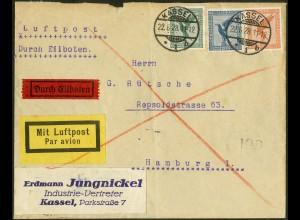 Dt. Reich, Straßenbahnpost 1928, portogerechter Luftpost-Eil-Brief (8851)