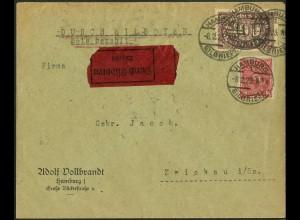 Dt. Reich, Straßenbahnpost 1923, portogerechter Eil-Brief (8857)