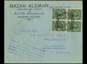 Dt. Reich, Straßenbahnpost 1933, Auslands-Luftpost-Brief, Ecuador (8859)