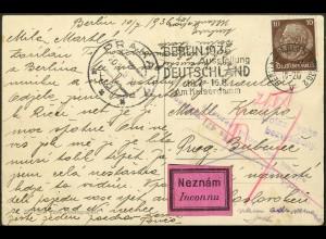Dt. Reich, Mi. 518, portoger. Einzelfrankatur Ausl.-Postkarte (8888)