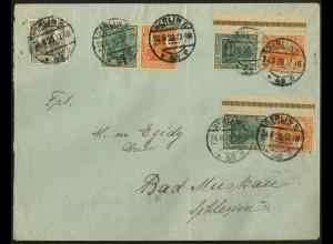 Dt. Reich, Mi. W 5 ab + S 3 ab mit Rand (2), portogerecht, Mi. 180,- (8937)