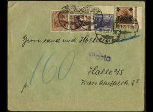 Dt. Reich, Mi. S 10 LR 1, Fern-Brief mit Nachgebühr, Mi.-Handbuch 35,- (8946)
