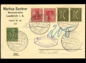 Dt. Reich, Mi. K 3, portogerechte Drucksachen-Karte, Mi. 30,- (8948)