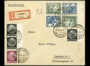 Dt. Reich, SK 19 RR 1 + SK 19, portogerechter Orts-R-Brief, Mi. 400,- (8976)