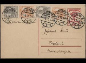 Dt. Reich, S 11 a (2), portogerecht auf Postkarte, gepr. BPP, Mi. 105,- (9096)