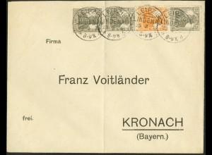 Dt. Reich, S 12 a, portogerechter Fern-Brief, gepr. BPP, Mi. 120,- (9102)