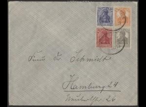 Dt. Reich, S 13 a, portogerechter Fern-Brief, gepr. BPP, Mi. 70,- (9109)