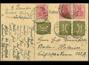 Dt. Reich, K 5, portogerechter Postkarte, Mi. 100,- (9121)