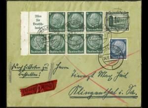 Dt. Reich, HBl. 85 mit Rand, portogerecht auf Eil-Brief, Mi. 110,- ++ (9128)