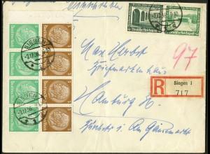 Dt. Reich, HBl. 87 mit Rand + W 121, auf R-Brief, Mi. Brief 110,- ++ (9129)