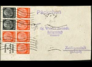 Dt. Reich, HBl. 88 m. Rand, Einzelfrankatur, Päckchen-Adresse, Mi. 110,- + (9134)