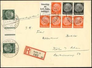 Dt. Reich, HBl. 88 + KZ 22.5, portogerechter R-Brief, Mi. 125,- + 30 % (9135)