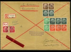 Dt. Reich, HBl. 92 + S 151 (2), portogerechter Eil-R-Brief, Mi. 100,- ++ (9140)