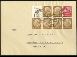 Dt. Reich, HBl. 94, Einzelfrankatur auf Fern-Brief (9142)