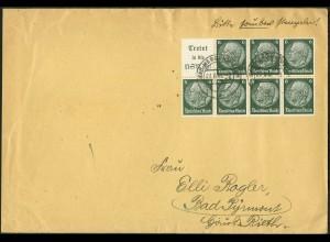 Dt. Reich, HBl. 96, Einzelfrankatur auf Fern-Brief, Mi. für MiF 45,- (9144)