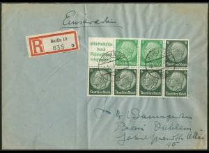 Dt. Reich, HBl. 99, Einzelfrankatur auf Orts-R-Brief, Mi. MiF45,- (9148)