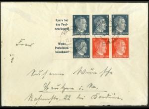 Dt. Reich, HBl. 119, Einzelfrankatur auf Fern-Brief, Mi. Brief 40,- ++ (9161)