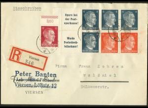 Dt. Reich, HBl. 119, auf R-Brief, Mi. Brief 40,- ++ (9162)