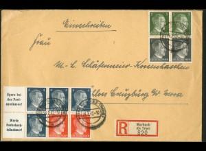 Dt. Reich, HBl. 119 + S 270 (2), auf R-Brief, Mi. Brief 42,- (9164)