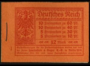 Dt. Reich, MH 15, original-geklammert ohne Marken, Mi. für kpl. 900,- (9201)