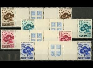 Bes. - Serbien, Mi. 62-65, postfrische Zwischenstegpaare, ungeknickt (9297)