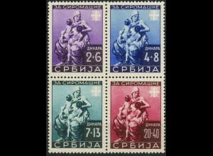 Bes. - Serbien, Mi. Hz 1 (82-85), postfrisches Herzstück, Mi. 150,- (9299)