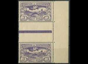 Oberschlesien, Mi. 28 a ZS, postfrisch, farbgeprüft BPP, Mi. 35,- ++ (9338)