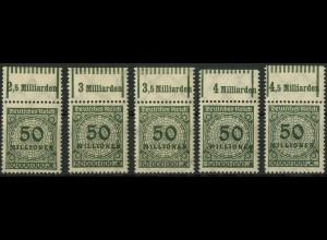 Dt. Reich, Mi. 321 P/W, 5 versch. Oberränder, postfrisch, Mi. 150,- (9378)