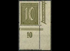 Dt. Reich, Mi. 159 L, postfrisches Eckrandstück m. Leerfeld, ungeknickt (9385)