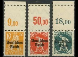 Dt. Reich, Mi. 120, 125, 126 L, je m. Leerfeld, postfrisch, ungeknickt (9390)