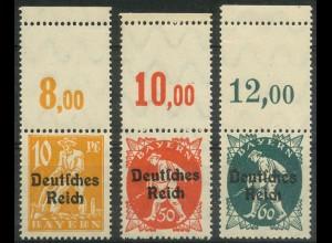 Dt. Reich, Mi. 120, 125, 126 L, je m. Leerfeld, postfrisch, ungeknickt (9393)