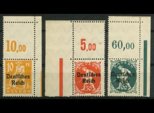Dt. Reich, Mi. 120, 125, 126 L, je mit Leerfeld, postfrisch, ungeknickt (9399)