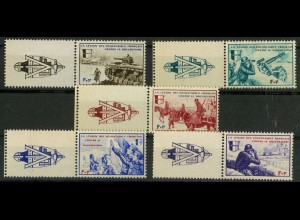 Dt. Bes. Frankreich, Mi. VI-X m. Zierfeld, postfrisch, Mi. 70,- (9413)