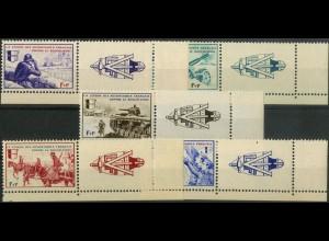 Dt. Bes. Frankreich, Mi. VI-X m. Zierfeld, postfrisch, Mi. 70,- (9416)