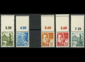 Frz. Zone Baden, 5 versch. Marken mit Leerfeld, postfrisch, Mi. 80,- (9424)