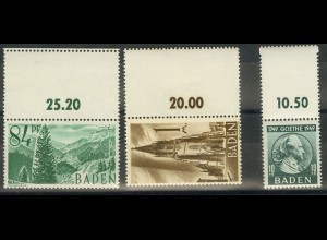 Frz. Zone Baden, 3 versch. Marken mit Leerfeld, postfrisch (9426)