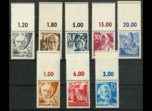 Frz. Zone Rh. Pfalz, 8 versch. Marken mit Leerfeld, postfrisch, Mi. 110,- (9427)