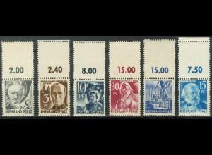 Frz. Zone Rh. Pfalz, 6 versch. Marken mit Leerfeld, postfrisch, Mi. 70,- (9428)